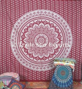 """Mandala Tapestry Silver Ombre Bohemian Wall Hanging 108"""" king Cotton Bedspread"""