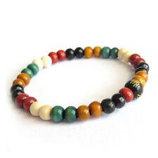 Multi-Color Wood Tibet Buddhist Prayer Beads Mala Bracelet--6mm*5mm