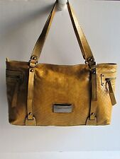 ROBERT PIETRI Spain Stylish Mustard Croc Embossed Leather Large Shoulder Bag