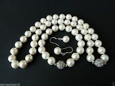 8mm white South Sea shell pearl fashion bracelet earring and necklace set