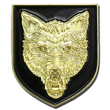"Vegasbee® Wolf Head Black Shield Gold Premium Lapel Pin Gift Box Red Pouch 1""H"