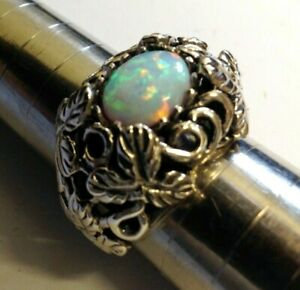 Fire Opal Big chunky statement Ring Sterling Silver Antique Vintage style 8