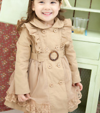 Girls Kids Ruffle Trench Coat Long Sleeve Double Breasted Lace Princess Dress