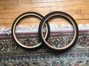 Competition 3 Old School BMX Tires NOS Yellow Label 20x2.125 20x1.75 Pair