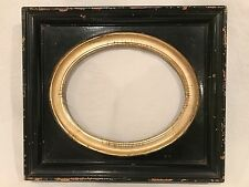 Antique 8x10 Black and Gold Leaf Oval Picture Frame c 1890