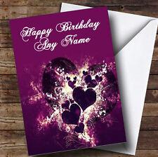 Corazones PÚRPURA y remolinos romántico Personalizado Cumpleaños tarjeta de saludos
