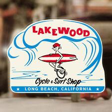 "Lakewood Cycle & Surf Shop sticker decal hot rod surf aloha 4.75"""