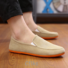 NEW Canvas Shoes Men's Casual Driving Comfort Loafers Breathability Flats Beige