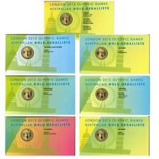 AUSTRALIAN 2012 LONDON OLYMPIC GOLD MEDALLIST 7 X  $1 COIN ON CARD - ALL SEVEN