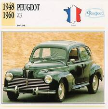 1948-1960 PEUGEOT 203 Classic Car Photograph / Information Maxi Card