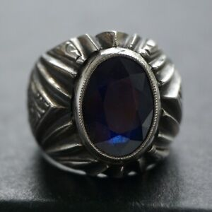 925 Sterling Silver Mens Ring Blue Sapphire corundum Unique Handcrafted Jewelry