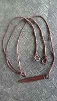 """Brown braided leather Western rommel reins  8 ft w/ Quirt (96"""") Tough 1"""