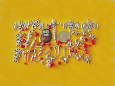"35 HALLOWEEN VAMPIRE DIY CHARMS &BEADS:TEETH,BATS,BULLETS,SPIKES,""BITE ME""&more"
