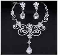 Silver Teardrop Floral Diamante Crystal Necklace Earrings Bridal/Party Set Gift