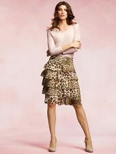 NEW $134 TALBOTS Brown Cheetah Tiered Ruffle Georgette Skirt Sz 20WP,20W Petite