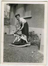 PHOTO ANCIENNE - ENFANT CHEVAL À BASCULE JOUET BOIS - CHILD TOY-Vintage Snapshot