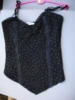 Medieval/goth corset seamed bodice/camisole black lace spots size S/M