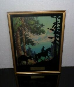 Vintage Reverse Painted Western Horse Silhouette  Picture Reserve Montana