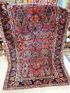 Auth:  Antique Sarouk   Rare  P E R S I  A N  Collectors  Pc   RED   4.4x6,4  NR