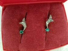 Russian Jewelry 14k Solid Rose & White Gold  Emerald/Diamond Earrings