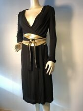 DVF Diane von Furstenberg Japanese Asian Gold Obi Sash Black Wrap Dress 6 Bin-K