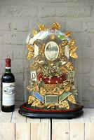 Antique Victorian Bridal wedding dome Globe Glass with tiara wax initials
