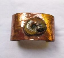 Handcrafted Hammered Copper Cuff with Ammonite