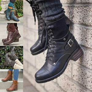 Womens Military Lace Up Boots Army Combat Ankle Flat Biker Zipped Leather Shoes✔