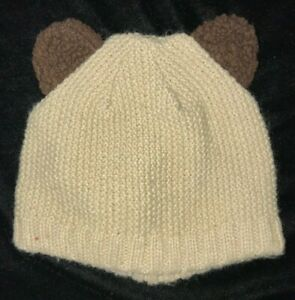 THE CHILDRENS PLACE tan knit WINTER HAT brown furry ears size 24 month to 4T lin
