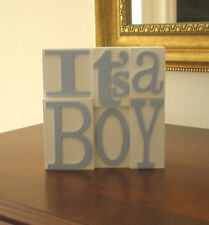 WHITE WOODEN SQUARE BLOCK PLAQUE SIGN ITS A BOY GIFT PRESENT NEW BABY