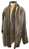 NWOT Susan Graver Brown Animal Print Jacket Belt Scarf Size Medium