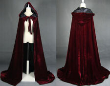 Wine black Velvet Hooded Cloak Cape Wedding Halloween Coat Costume Wicca Robe