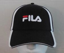 FILA Vintage Cap Embroidered Logo Baseball Flex Cap Fitted Black/White/Red NEW