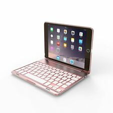 [For iPad Mini 4]Aluminum Case Bluetooth Keyboard w/ 7 Color Backlit(Rose Gold)