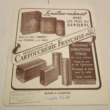 ancien buvard piles zenith aux sepoxyl cartoucherie francaise paris radio tube