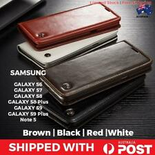 Samsung Galaxy S9 Red Leather Filp Over Case Cover Card Wallet Premium