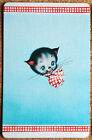 DECO - CAT WITH RED BOW -ON BLUE - RED BORDER- SINGLE VINTAGE SWAP PLAYING CARD