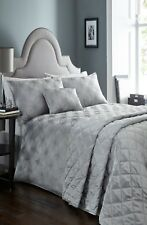 DOUBLE BED DUVET COVER SET LUNA PEWTER SILVER LUXURY WOVEN JACQUARD BEDDING