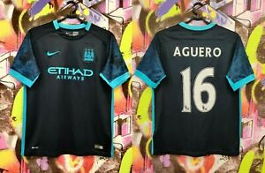 Manchester City Sergio Aguero #16 Football Shirt Soccer Jersey Youth  XL Mens XS
