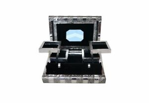 Large Indian Style Silver Embossed Metal Locking Jewellery Box