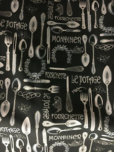 """FRENCH CUTLERY Fabric curtain Upholstery material 2.6m Piece Heavy Cotton 54"""""""