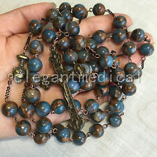 XL 10MM Football STONE beads First Communion Rosary GIFT Vintage  Cross Necklace
