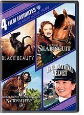 4 Film Favorites Classic Horse Films Black Beauty Seabiscuit Velvet Region 1 DVD