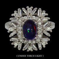 Oval Black Opal Hot Rainbow 8x6mm Cubic Zirconia 925 Sterling Silver Ring Sz 7.5