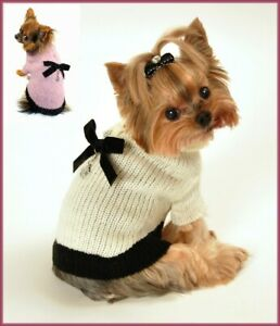 (NWT) Classic CoCo Mohair Dog Sweater with Paw Print Charm Pink or Cream S M L