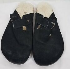 Bearpaw Slides size 12 black suede faux fur buckle shoes womens