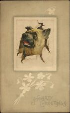 Bulldog Pops Head Thru Paper HEARTY GREETINGS c1910 Postcard