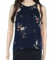 Joie Womens Top True Navy Blue Size XS Tank Floral Print Chiffon Silk $198 418