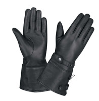 Ladies Black Leather Motorcycle Gauntlet Gloves 1491