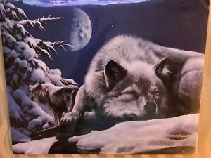 """SLEEPLESS NIGHT Wolf Print by KEVIN DANIELS 1999 Wolves Snow Night Moon 10"""" x 8"""""""